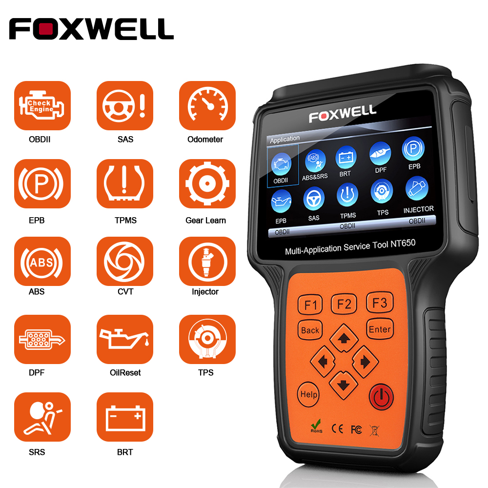 FOXWELL NT650 OBD2 Automotive Scanner ABS Airbag SAS DPF Regeneration EPB Oil Reset OBD 2 ODB2 Car Diagnostic Tool OBD2 Scanner(China)