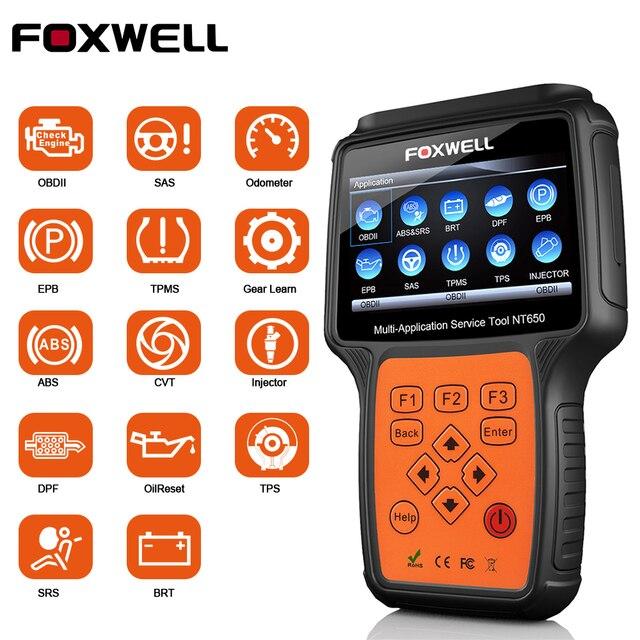 FOXWELL NT650 OBD2 Scanner automobile ABS Airbag SAS DPF régénération EPB huile réinitialiser OBD 2 ODB2 voiture outil de Diagnostic obd2 Scanner