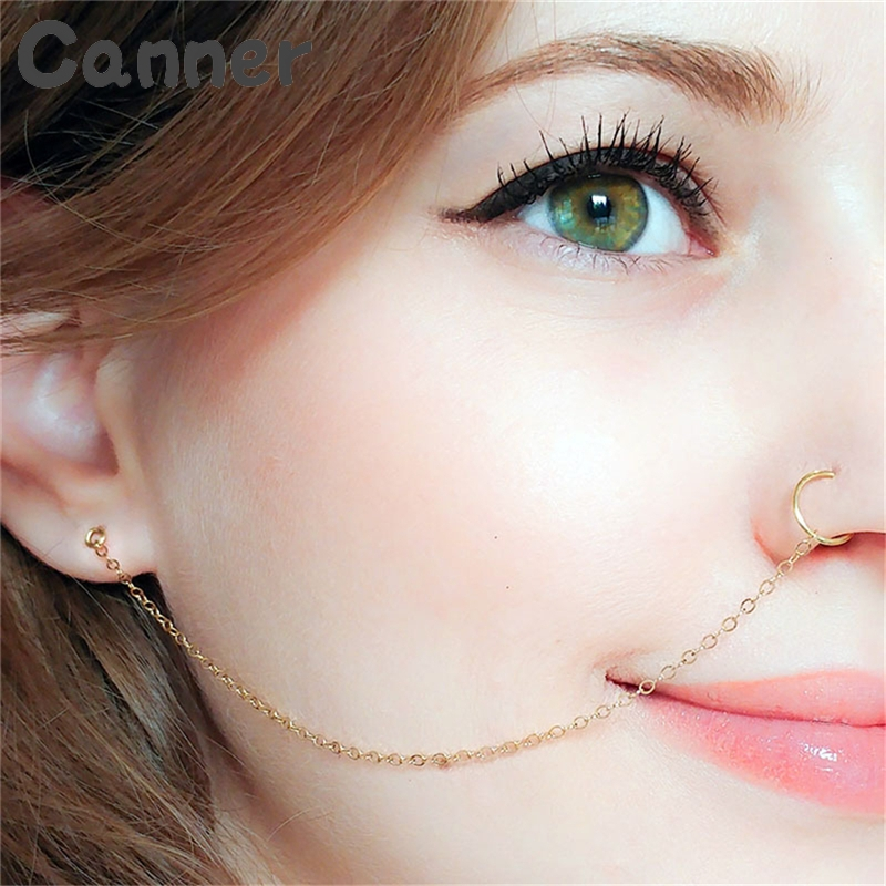 Canner Ethnic Punk Nose Rings Silver Gold Copper Clip On Nose Lip Ear Chain For Women Girl Stud Body Piercing Indian Jewelry A40