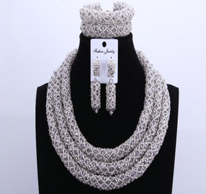 Image 3 - Silver Blue Dudo African Beads Jewelry Sets 2017 Bridal Jewelry Sets & More Nigerian Wedding Beads African Necklace For Women