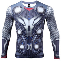 THOR Costume 3D T Shirts Men Compression Shirt Long Sleeve Spandex Bodybuilding Fitness Mens T-Shirt Base Layer Tshirt Crossfit