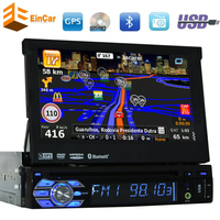 Single DIN 7 Inch Motorized Touchscreen Car DVD Player Receiver Bluetooth Detachable Front Panel Wireless GPS