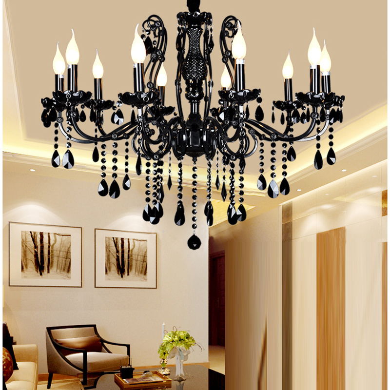 Modern black crystal chandelier with crystal pendants wrought iron modern black crystal chandelier with crystal pendants wrought iron chandeliers 10 lights led bedroom black chandelier crystal in chandeliers from lights aloadofball Images