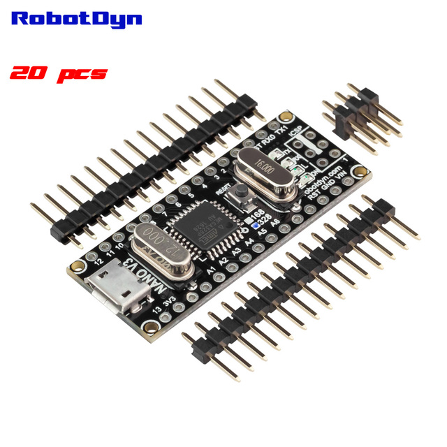 20 pcs FREE SHIPPING with tracking - Nano V3 ATmega328/CH340G, Micro USB, pin NOT soldered. Compatible for Arduino Nano V3.0
