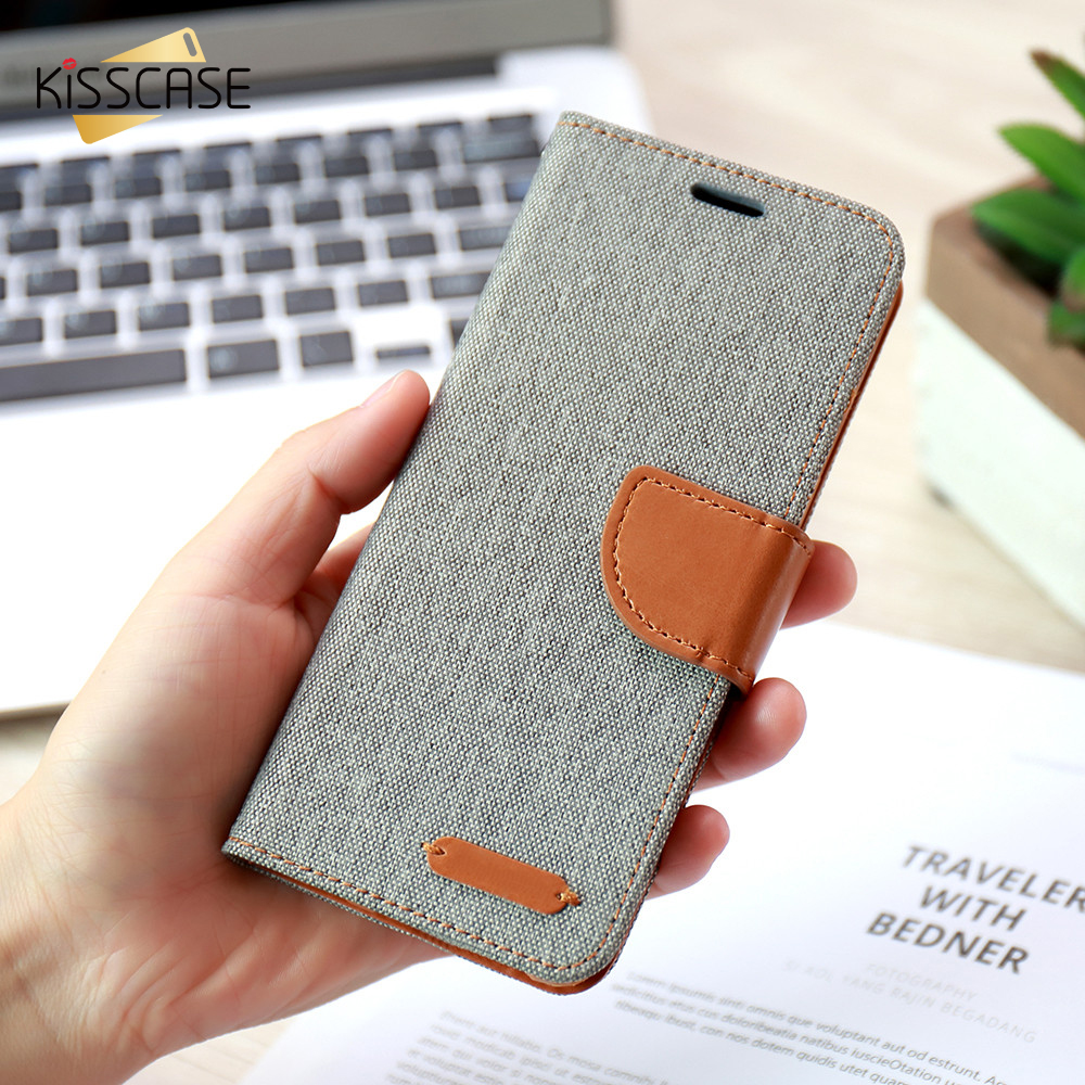 KISSCASE Stand Wallet Flip Cover For iPhone 6 6s Plus Case Soft Cloth Skin Silicon Phone Cases For iPhone 7 7 Plus 5 5s SE Case