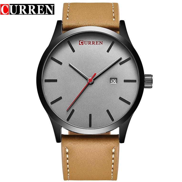 CURREN Top Brand Luxury Quartz watch men Business Casual Black Japan quartz watch genuine leather ultra