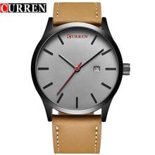 CURREN Top Marque De Luxe montre À Quartz hommes D'affaires Décontractée Noir Japon quartz-montre en cuir véritable ultra mince horloge mâle nouveau