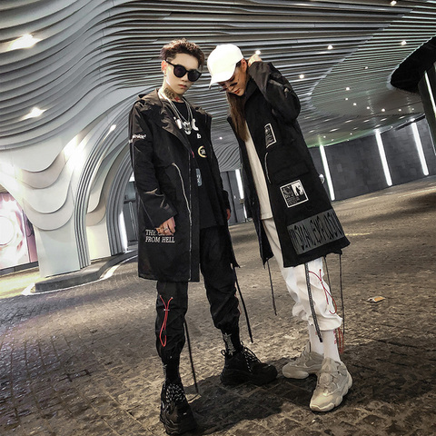Aelfric Eden Gothic Long Trench Coat Men 2018 Hip Hop Hooded Windbreaker Jackets Fashion Black Streetwear Swag Overcoats KJ39 Multan