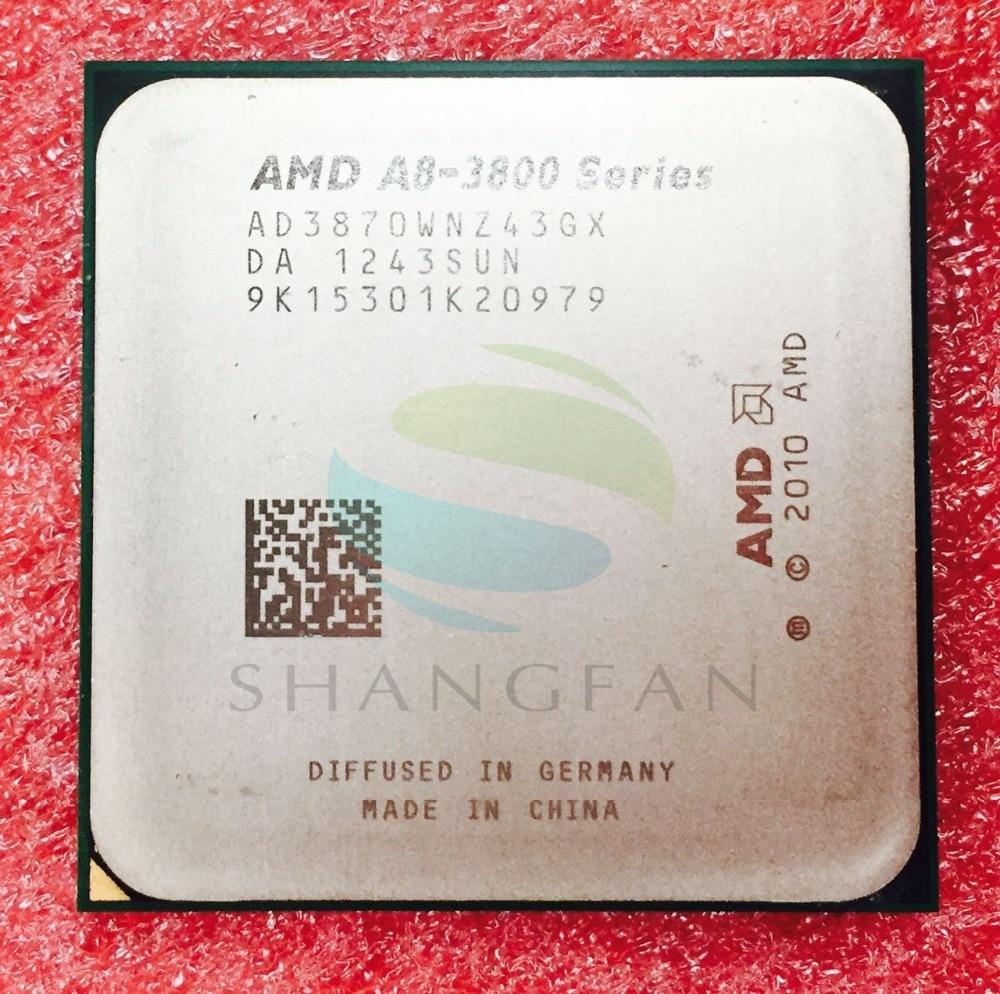 AMD A8 Series A8 3800 A8 3870 A8-3870 3GHz 100W Quad-Core CPU Processor AD3870WNZ43GX A8 3870K Socket FM1/ 905pin shuangye a8 36v