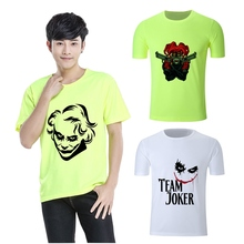 Cool Hot Summer DC anime Joker Art Printed Graphics Round Neck Short Sleeve T-Shirt Blended Sweat Absorbing Fitness Shirt