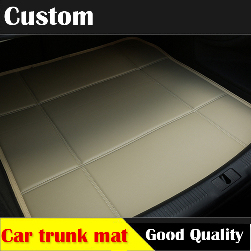 custom car trunk leather mat for Peugeot 206 207 2008 301 307 308sw 3008 408 4008 508 rcz car styling tray carpet cargo liner custom cargo liner car trunk mat carpet interior leather mats pad car styling for dodge journey jc fiat freemont 2009 2017