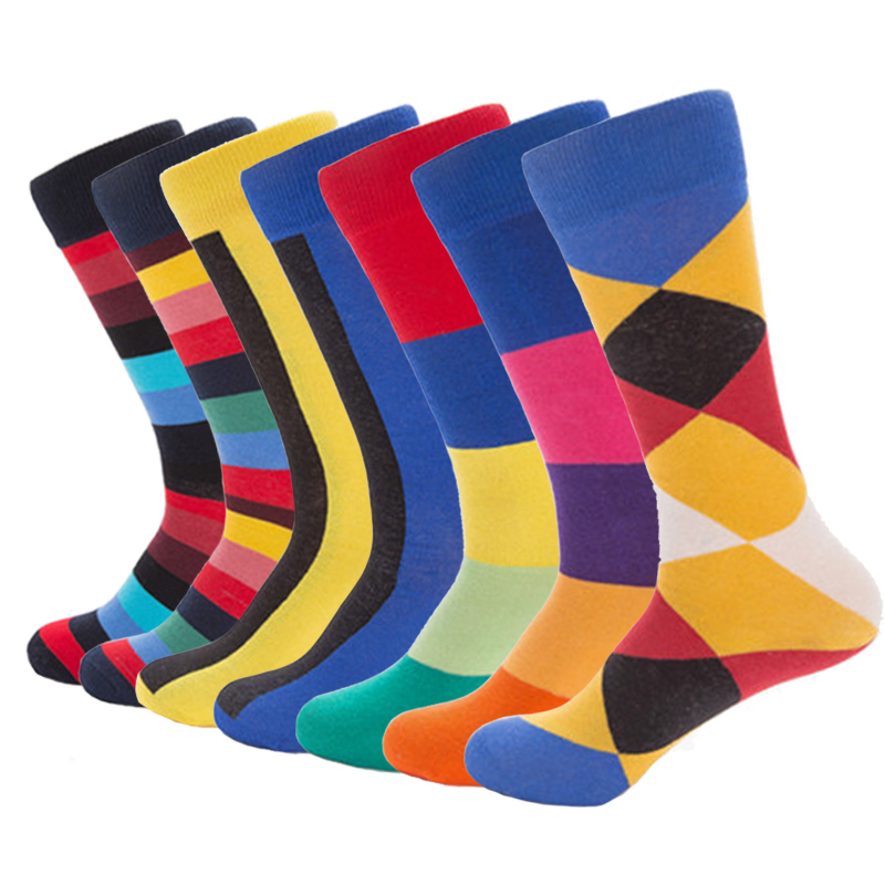 2018 New Fashion Colorful Combed Cotton Funny Happy Socks Men Harajuku Street Geometric Mosaic Men Socks Dress Wedding Sock