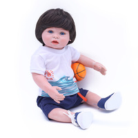 OtardDolls Bebes Reborn Doll 100% Full Silicone Body Newborn Doll Kits W/Blue Arcylic Eyes Basketball Toy 17''feet hand Rotate