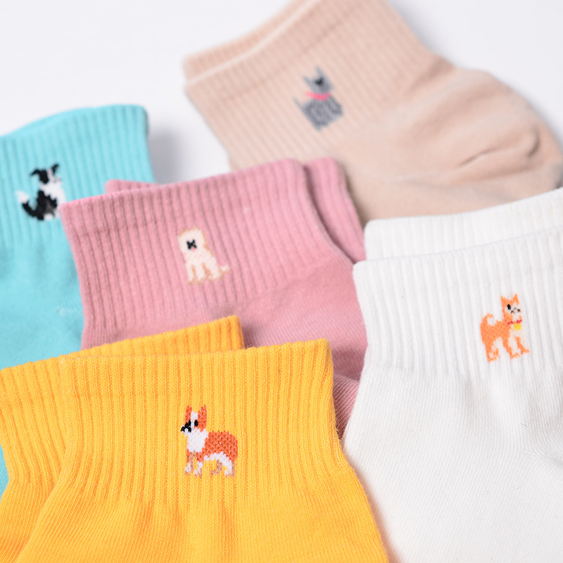 Fashion Candy Color Kawaii Cute Dog Women Girl  Cotton Socks Korean Tube Harajuku Funny CasualNovelty Art Vintage Yellow White