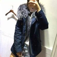 2016 Fashion Cold winter coat women real fur coats big raccoon fur collar hooded blue Jacket