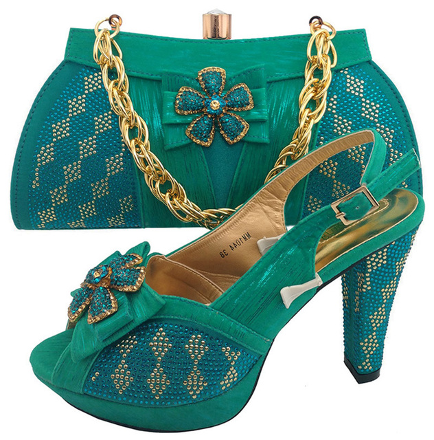 556132fef863 SB8002 Teal Green big size 38 to 43 sandal shoes matching elegant evening  bag 2017 italian shoes and bag matchign set free ship