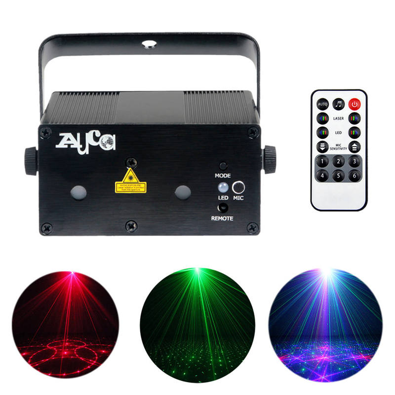 AUCD Mini Remote 300mw RGB Laser Light DJ Projector Blue LED Mixing Effect KTV Home Party Show Xmas Stage Lighting Z12G-RGB300 alien 300mw rgb stage lighting effect dj disco party home wedding laser projector light xmas remote laser system show lights