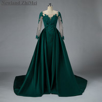 New Arrival Green A Line Prom Dress 2018 Hot Sale Custom Made Bead Applique Long Satin Woman Evening Gown with Detachable Train