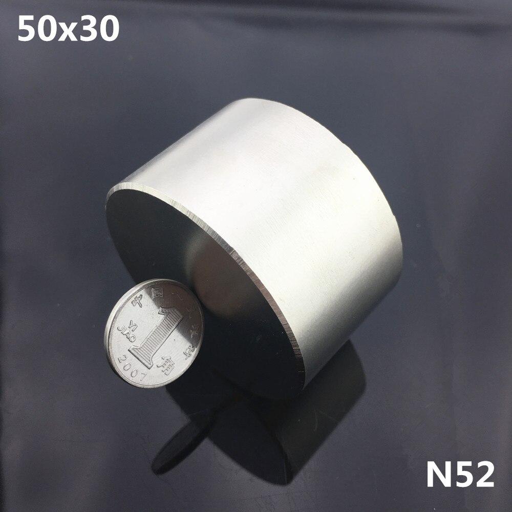 1 unid N52 imán 50x30mm poderoso permanente redonda imán de neodimio Super fuerte magnético de la tierra rara NdFeB 50*30mm metal galio