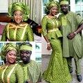 Más el Tamaño de Vestidos de Noche Africanos Largo Manga Francesa de África Mujeres de Talla grande Cruz de Oro Vestidos Formales de Noche Vestido de Fiesta
