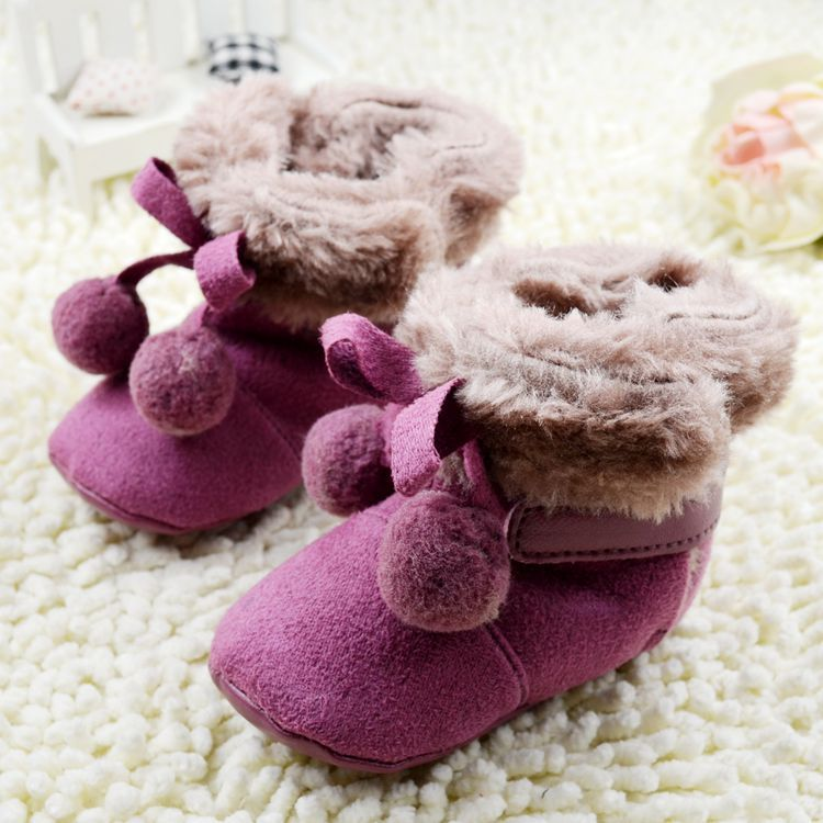 Bow Baby Shoes 2016 New Child Of Boots Cute kids Shoe Shoes For Girls Purple Maomao ball Cute kids footwear Bow Baby Shoes