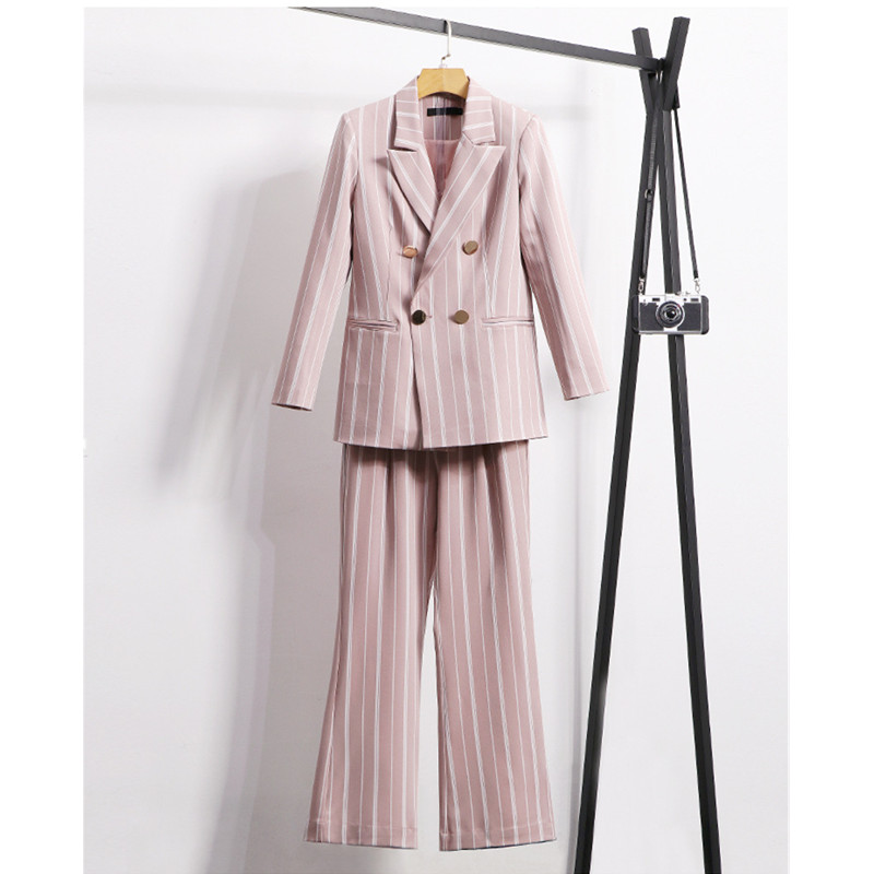 Women's suit women's striped pink jacket with wide leg pants women's fashion casual double breasted suit 2 sets (jacket + pants)