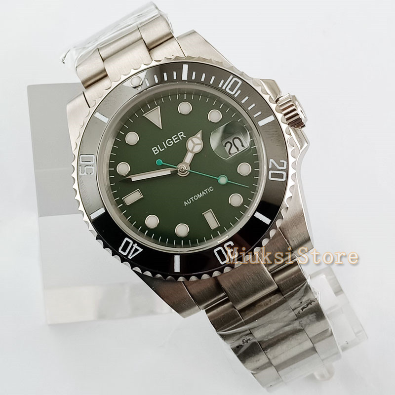 40mm bracelet Sport Relogio Masculino Luminous Automatic Top Marque Luxe Hommes Horloge Montres Mechanical Stainless green
