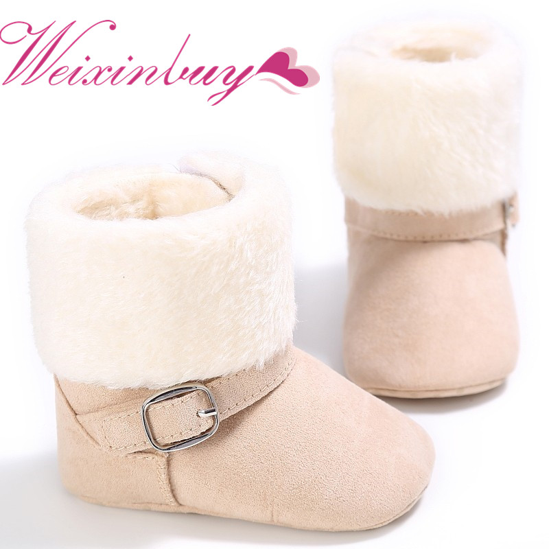 WEIXINBUY Unisex Snow Kids Baby Girls Boys Winter Lovely Warm Fleece Style Boots Anti-skid Cack Shoes