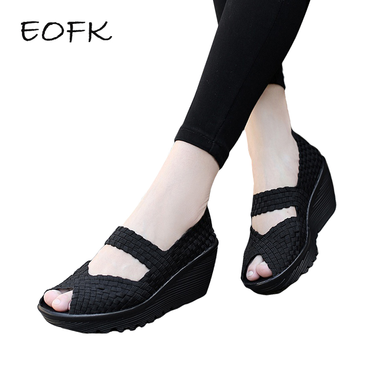 EOFK 2019 Summer Women Sandals Platform Wedges Shoes Woman Handmade Woven Shoes Breathable Open Toe Comforty