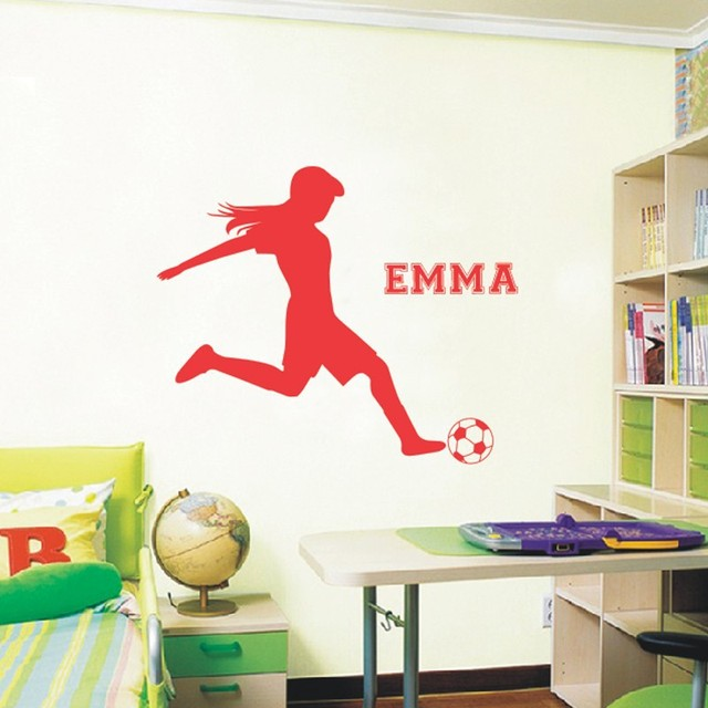 Football Soccer Wall Decals Vinyl Personalized Name Poster Wall Art Wall  Sticker For Kids Girls Rooms