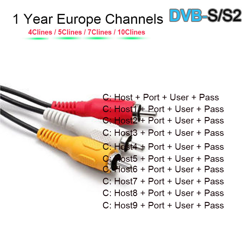 Freesat  V7 V8  DVB-S/S2 Satellite Valid Lines 1 Year 7 Lines Validity Clines Newcamd USB WIFI Satellite TV Receiver