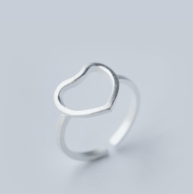 Jisensp ювелирные изделия в стиле минимализма серебряные геометрические кольца для женщин с регулируемой окружностью треугольник сердцебиение кольца на фаланги pour femme - Цвет основного камня: SYJZ001