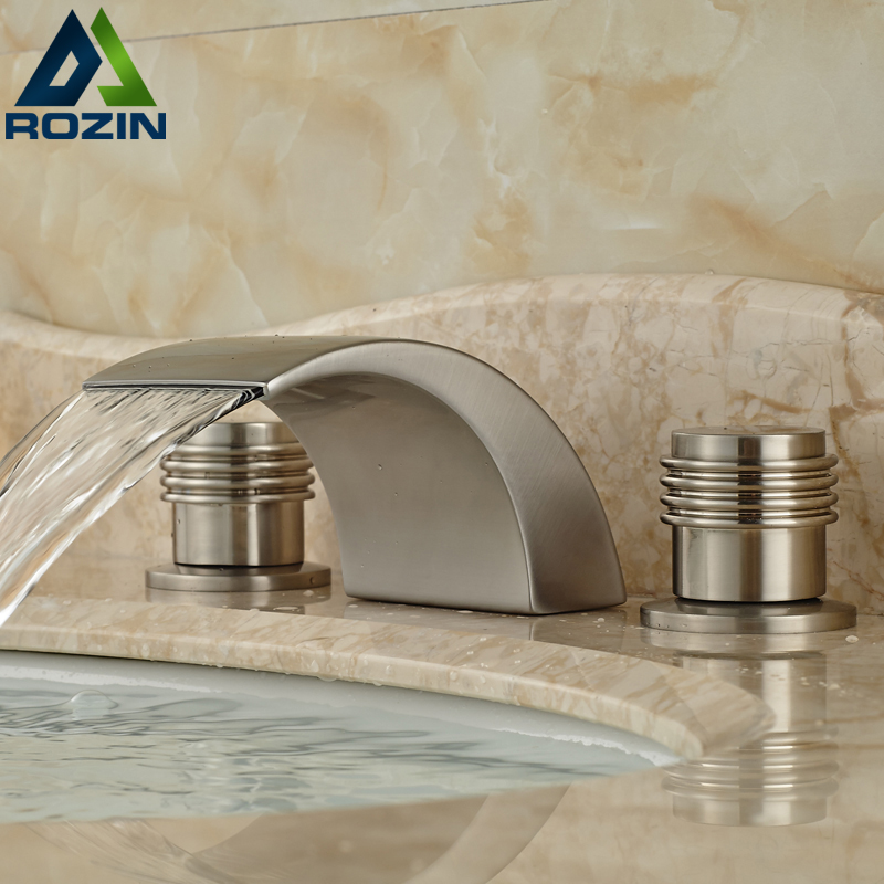 2016 Hot Selling Good Quality Dual Handles Three Holes Lavatory Bathroom Sink Faucet Brushed Nickel high quality tr1000 tr2020 900168 26 selling with good quality
