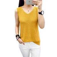 Summer Women Tank Tops V Neck Linen Knitted Vest T Shirt Fashion Loose Solid Color Plus