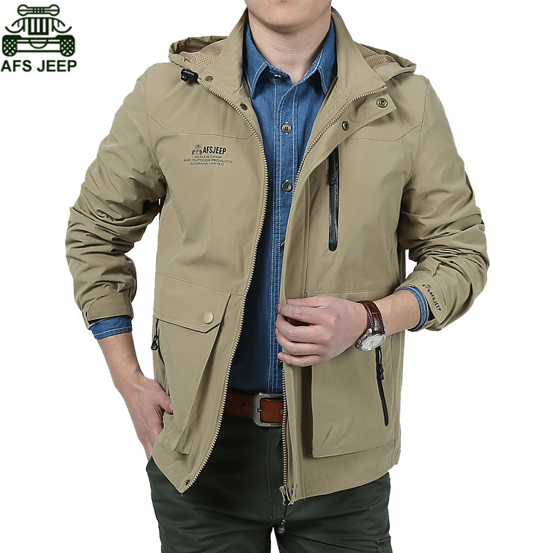 AFS JEEP Brand Men Hiking Outdoor Camping Fishing Climbing Clothing Hoodie Hunting Clothes Soft Shell Jacket Waterproof Coat