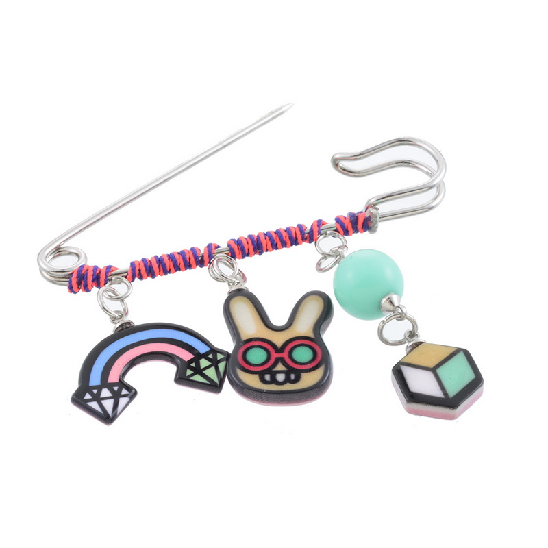 MJARTORIA Fashion Color Fringe Doodle Cactus Bunny Brooch Cute Cartoon Brooch For Women Dress Scarf Brooch Pins