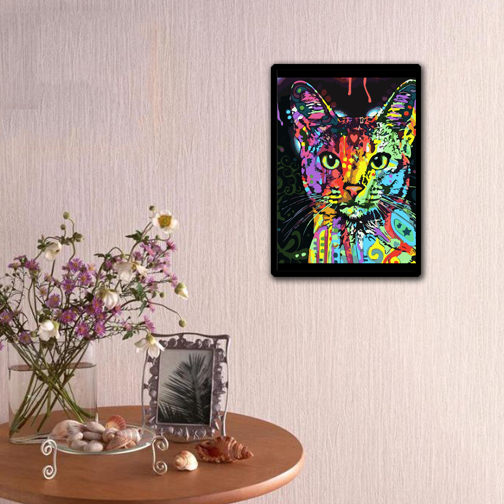 Colorful cat 5d diamond paiting diy painting kit home for Mosaic home decor