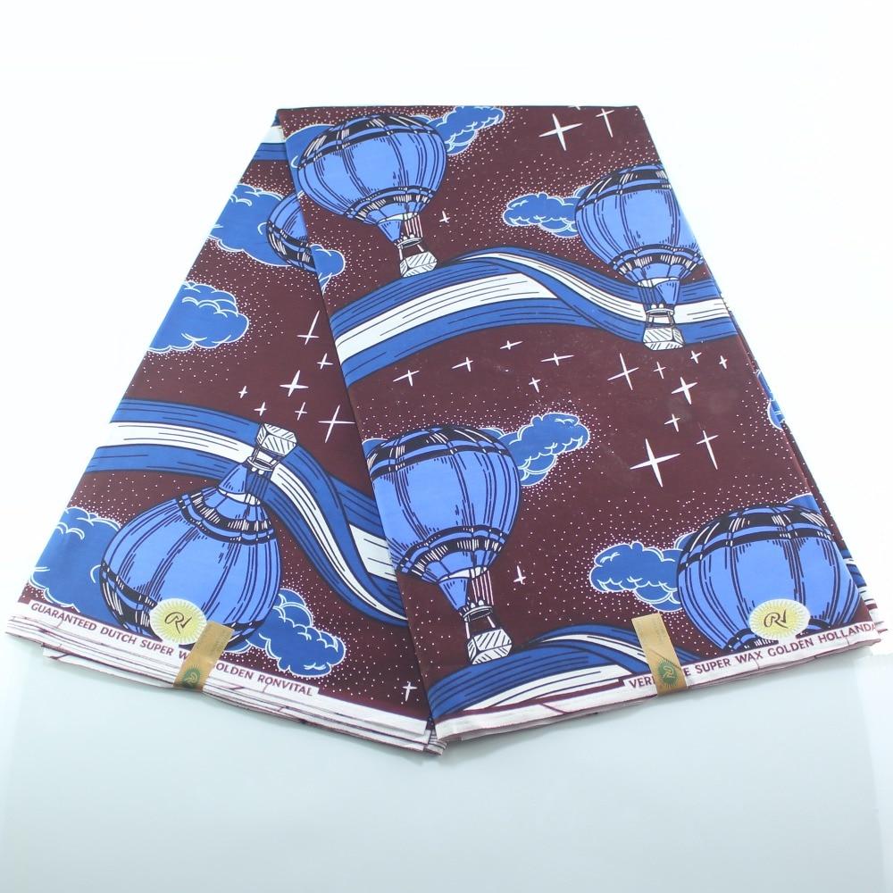 Newest 2019 Design Nigerian Wax Fabrics African Cotton Print Ankara Fabric Wax Sewing Material Blue Hot Air Balloon
