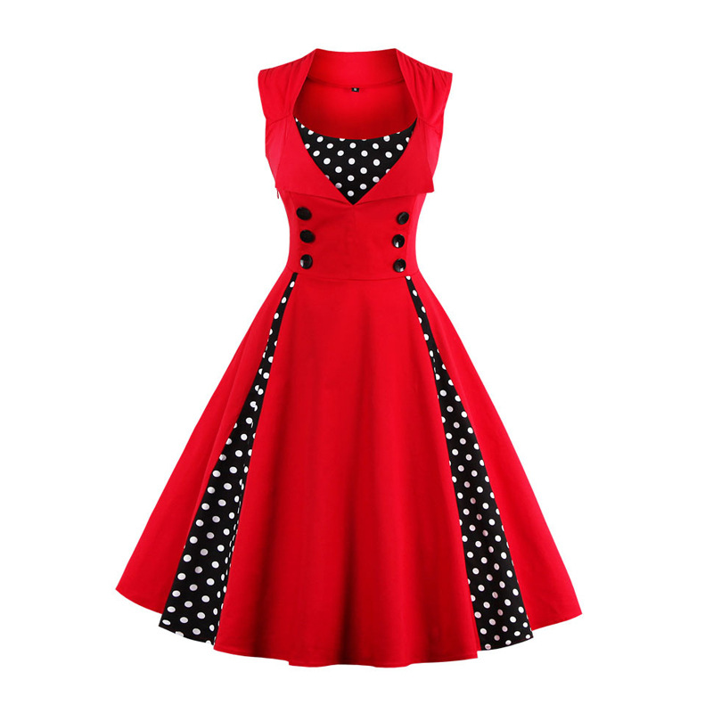 2018 Summer 1950s Charming Little Dots Dress Women Red Square Collar Plus Size 5XL Dress Aubrey Style Women Pleated Dress