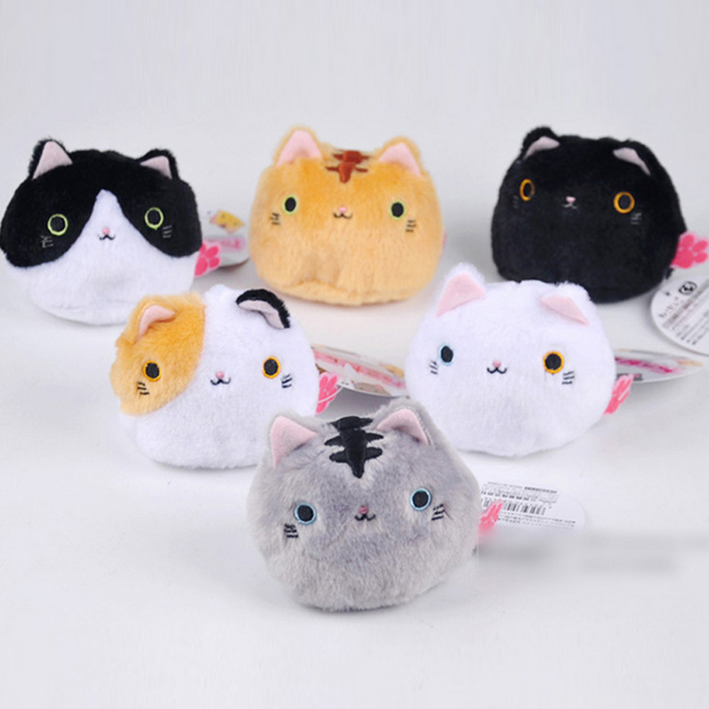 Kawaii 7CM Lovely Cute Cats Stuffed TOY Keychain Cat Gift plush TOY DOLL Kid's Party Birthday plush toys 6colors