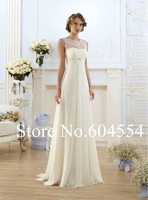 2015 Stock Vestido De Noiva US Size 4 18 White Ivory Lace Wedding Dress Sweep Train