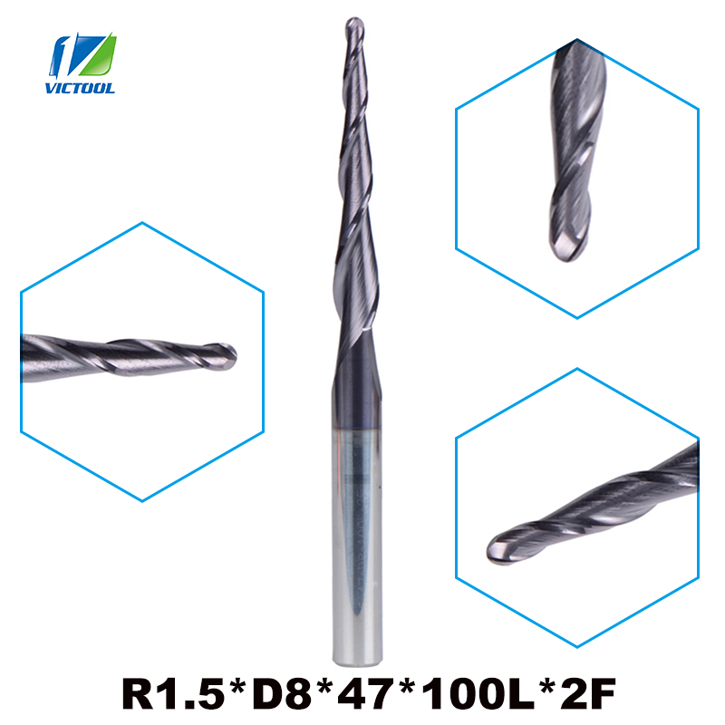 1pc R1.5*D8*47*100L*2F tungsten carbide router bits Ball Nose cone type Tapered End Mill 8mm shank cnc milling cutter tools 1 2 5 8 round nose bit for wood slotting milling cutters woodworking router bits