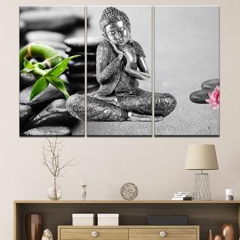 Estatua tailandesa de Buda de bambú de China, 3 uds., lienzo impreso, pintura de pared, arte moderno, decoración del hogar, arte de pared, imagen de decoración del hogar, obra de arte