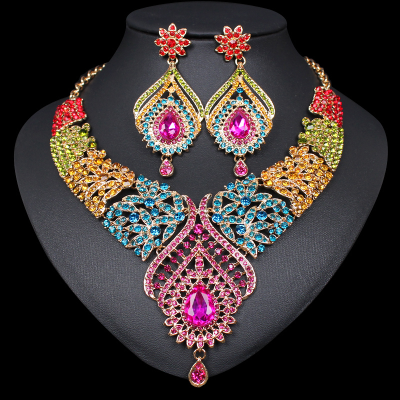 Fashion Crystal Statement Necklace Earrings Sets Gold Color Indian