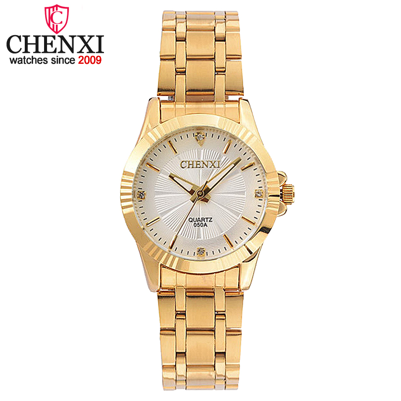 CHENXI Luxury Female Golden Clock Quartz Watch Women Watches Jewelry Ladies Gold Strap Wristwatch Fashion Quartz-watch Women's chenxi steel strap tachymeter quartz watch