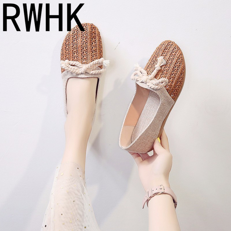RWHK 2019 summer new linen grass woven breathable bow flat student lazy shoes women B324