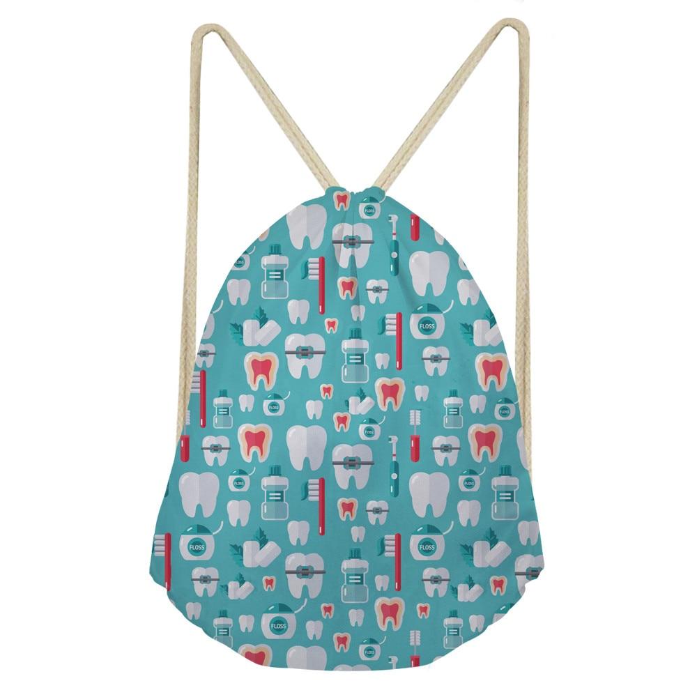 ThiKin 2019 Fashion Women Backpack 3D Dentist Medical Print Travel Softback Girls mochila Drawstring Bag Kid