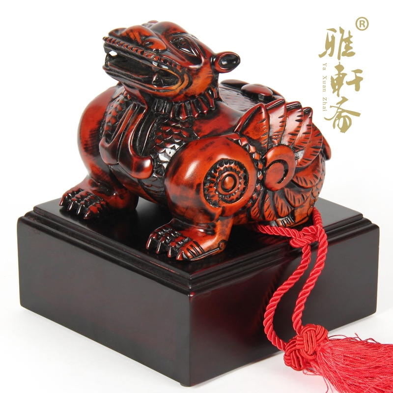 Dongyang wood carving wood brave seal lucky draw luck lucky mascot Home Furnishing ornaments business gifts