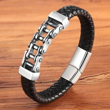 Unique Punk Design Special Pattern Bicycle Chain Stainless Steel Accessories Men's Leather Bracelet Multi-color Birthday Gift(China)