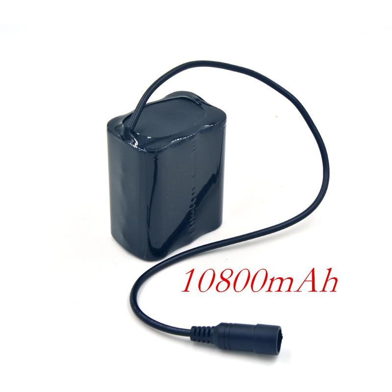 2016 New 10800mAh Bicycle Light Battery Pack 6x 18650 Cycling Headlight Light Power for CREE XML XM-L L2 T6 LED Bike Lamps